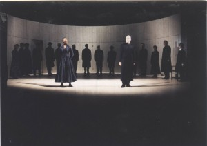 Midsummer Night's dream, RST 1999. Directed by Michael Boyd, designed by Tom Piper, Lighting by Chris Davey. First court scene.