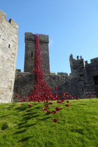 Weeping window Caernarfon by  artist Paul Cummins and designer Tom Piper
